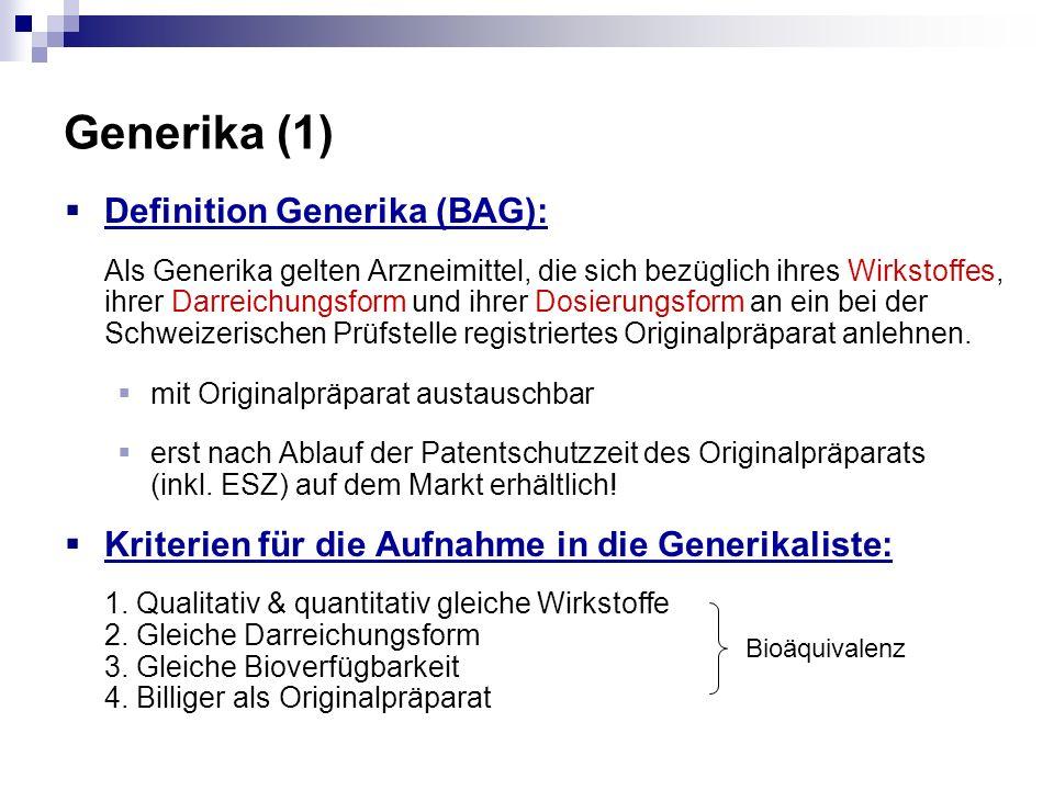 Generika (1) Definition Generika (BAG): Als Generika gelten Arzneimittel, die sich bezüglich ihres Wirkstoffes, ihrer Darreichungsform und ihrer Dosie