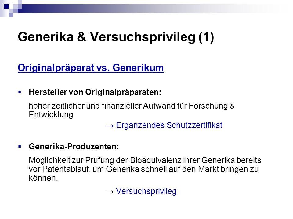 Generika & Versuchsprivileg (1) Originalpräparat vs. Generikum Hersteller von Originalpräparaten: hoher zeitlicher und finanzieller Aufwand für Forsch