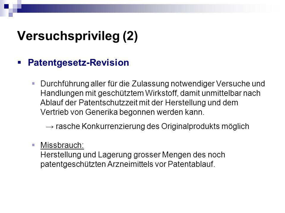 Versuchsprivileg (2) Patentgesetz-Revision Durchführung aller für die Zulassung notwendiger Versuche und Handlungen mit geschütztem Wirkstoff, damit u