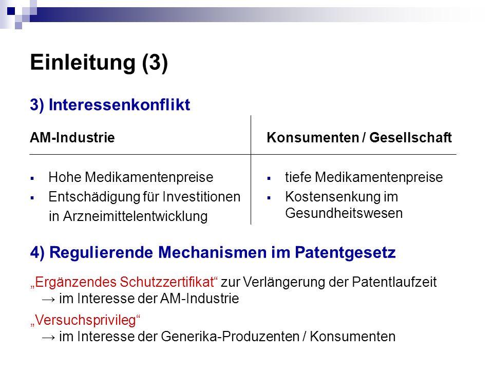 Einleitung (3) 3) Interessenkonflikt AM-Industrie Hohe Medikamentenpreise Entschädigung für Investitionen in Arzneimittelentwicklung Konsumenten / Ges