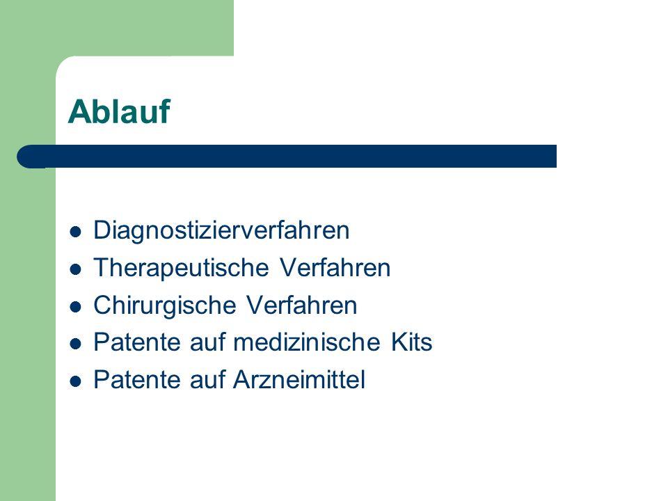 Ablauf Diagnostizierverfahren Therapeutische Verfahren Chirurgische Verfahren Patente auf medizinische Kits Patente auf Arzneimittel