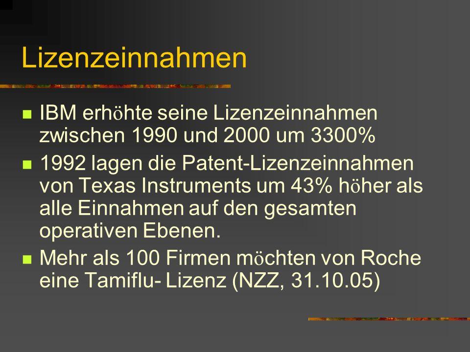 Lizenzeinnahmen IBM erh ö hte seine Lizenzeinnahmen zwischen 1990 und 2000 um 3300% 1992 lagen die Patent-Lizenzeinnahmen von Texas Instruments um 43% h ö her als alle Einnahmen auf den gesamten operativen Ebenen.