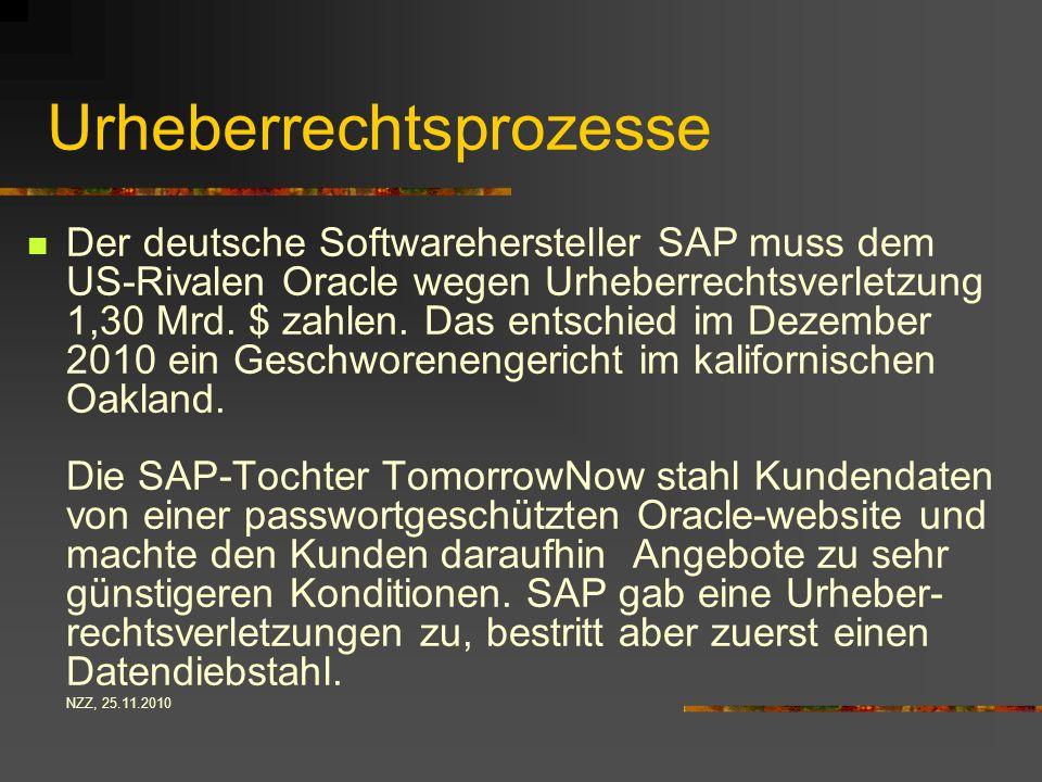 Urheberrechtsprozesse Der deutsche Softwarehersteller SAP muss dem US-Rivalen Oracle wegen Urheberrechtsverletzung 1,30 Mrd.