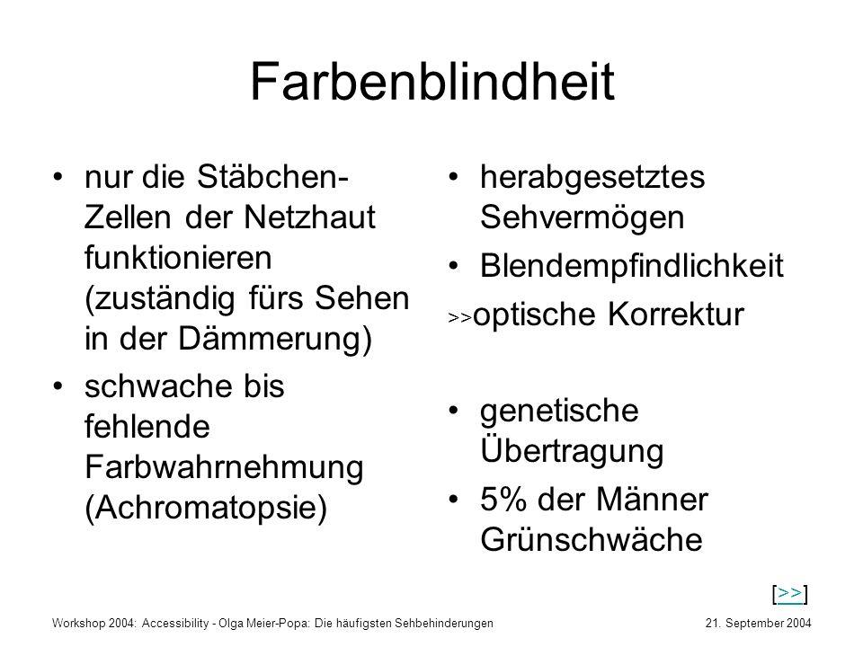 21. September 2004Workshop 2004: Accessibility - Olga Meier-Popa: Die häufigsten Sehbehinderungen Farbenblindheit nur die Stäbchen- Zellen der Netzhau