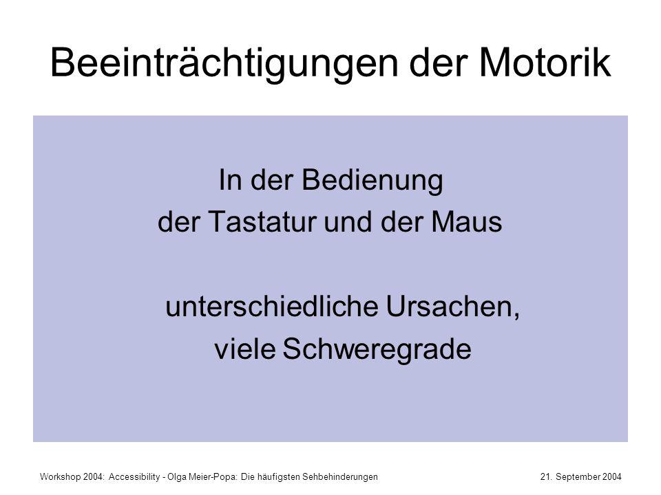 21. September 2004Workshop 2004: Accessibility - Olga Meier-Popa: Die häufigsten Sehbehinderungen Beeinträchtigungen der Motorik In der Bedienung der