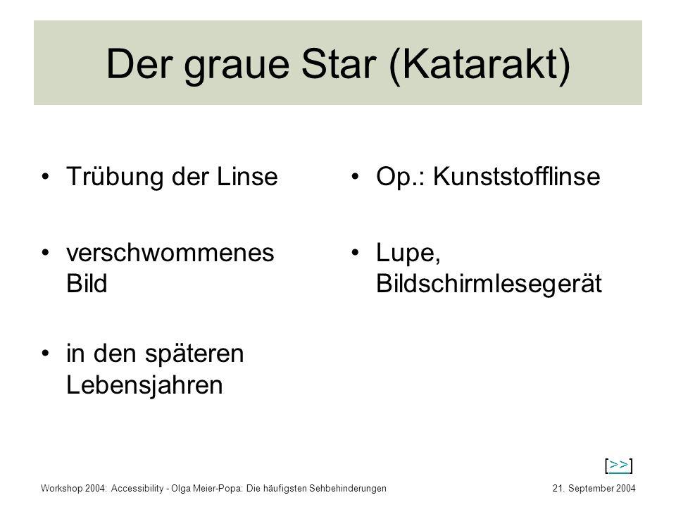 21. September 2004Workshop 2004: Accessibility - Olga Meier-Popa: Die häufigsten Sehbehinderungen Der graue Star (Katarakt) Trübung der Linse verschwo