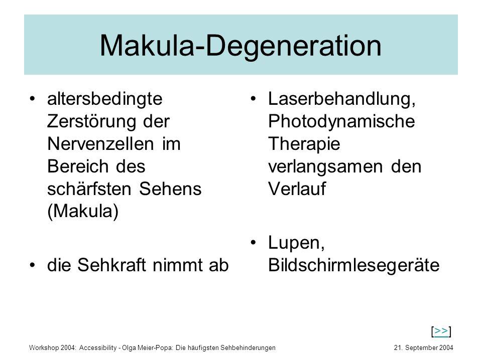 21. September 2004Workshop 2004: Accessibility - Olga Meier-Popa: Die häufigsten Sehbehinderungen Makula-Degeneration altersbedingte Zerstörung der Ne