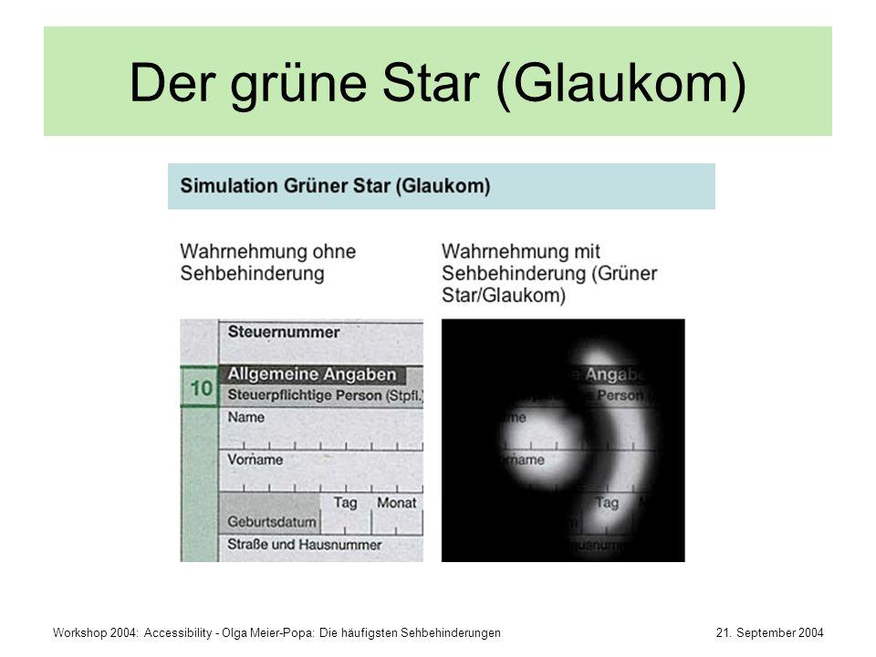 21. September 2004Workshop 2004: Accessibility - Olga Meier-Popa: Die häufigsten Sehbehinderungen Der grüne Star (Glaukom)