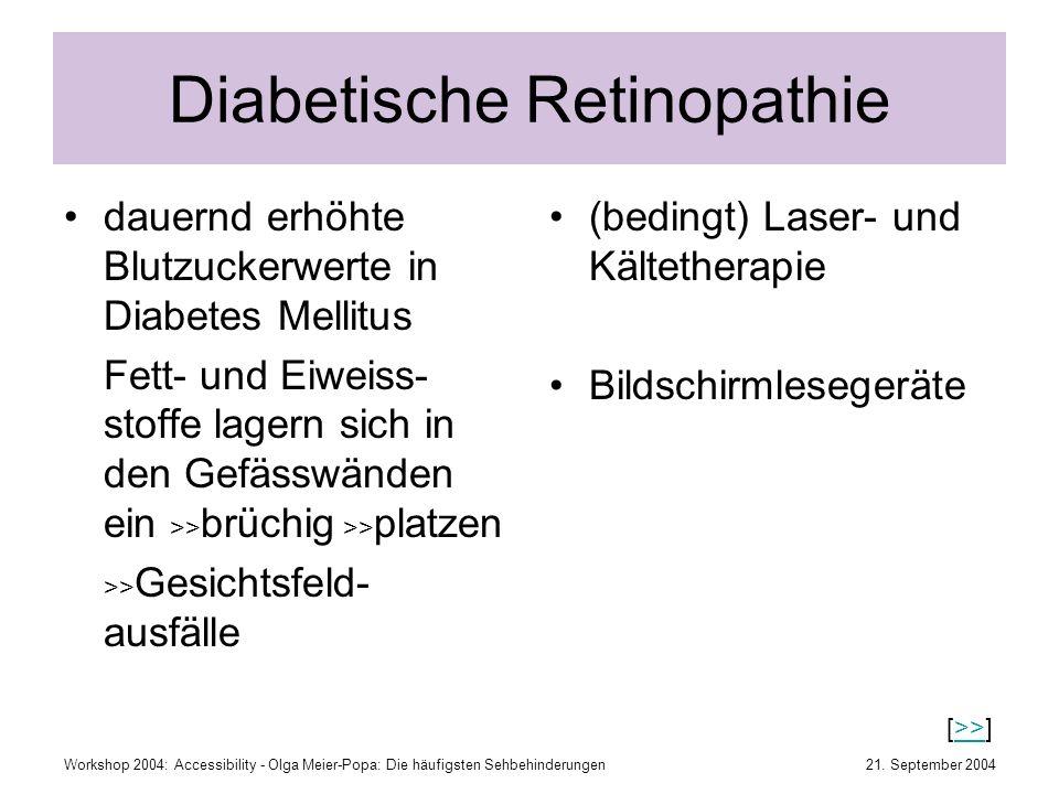 21. September 2004Workshop 2004: Accessibility - Olga Meier-Popa: Die häufigsten Sehbehinderungen Diabetische Retinopathie dauernd erhöhte Blutzuckerw
