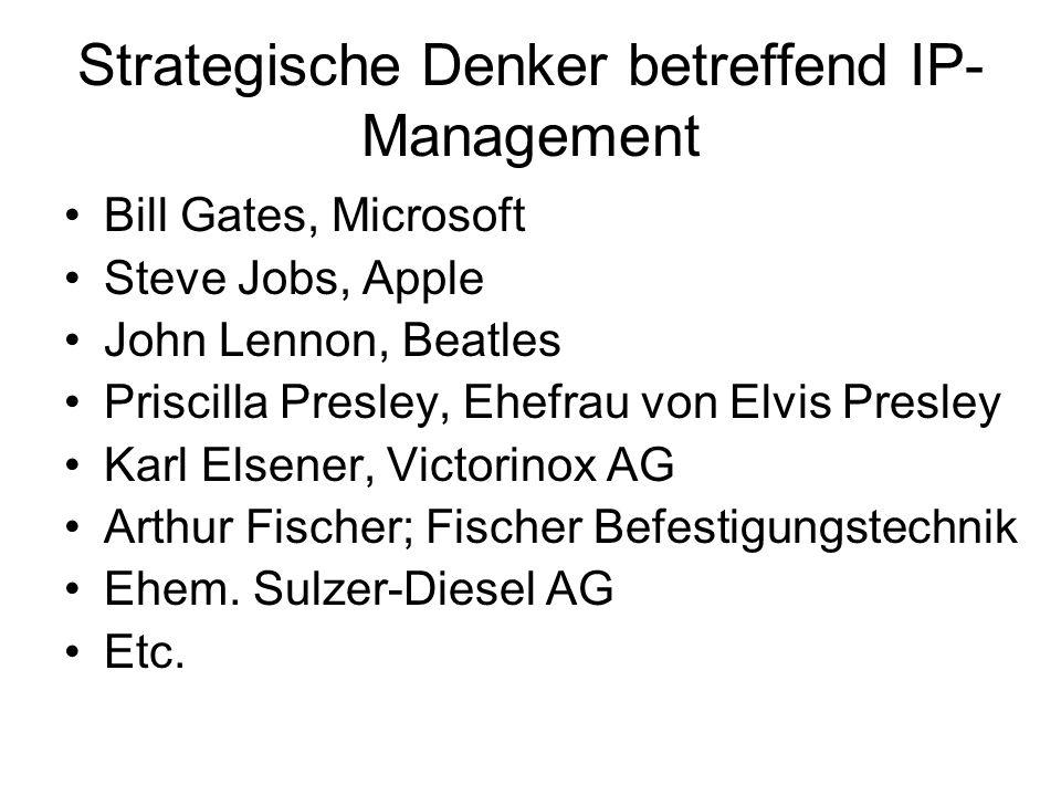 Strategische Denker betreffend IP- Management Bill Gates, Microsoft Steve Jobs, Apple John Lennon, Beatles Priscilla Presley, Ehefrau von Elvis Presle