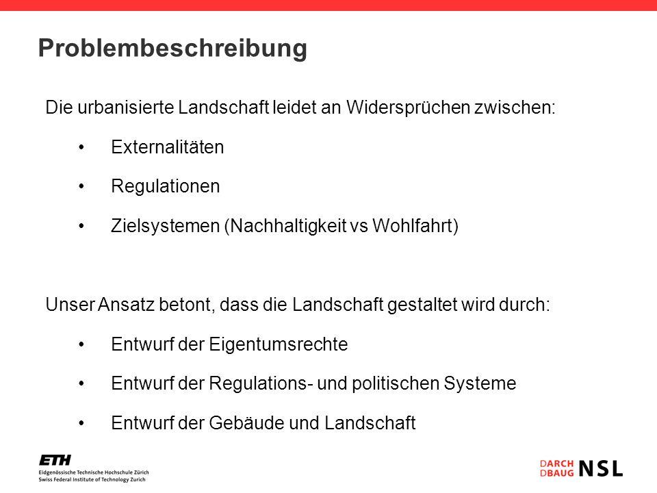 Problembeschreibung Die urbanisierte Landschaft leidet an Widersprüchen zwischen: Externalitäten Regulationen Zielsystemen (Nachhaltigkeit vs Wohlfahr
