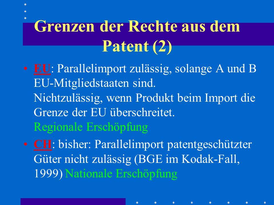 Grenzen der Rechte aus dem Patent (2) EU: Parallelimport zulässig, solange A und B EU-Mitgliedstaaten sind.