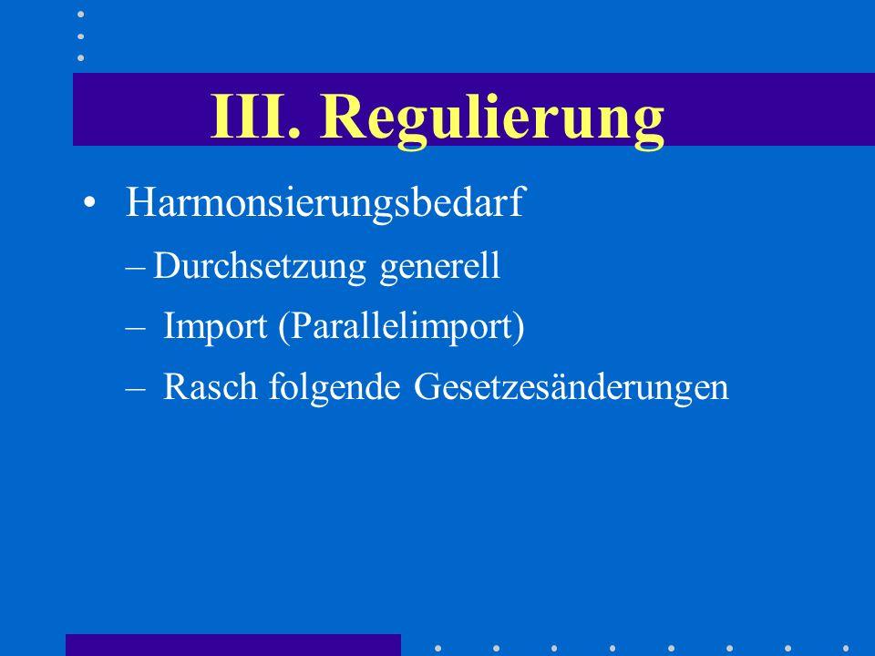 III. Regulierung Harmonsierungsbedarf –Durchsetzung generell – Import (Parallelimport) – Rasch folgende Gesetzesänderungen