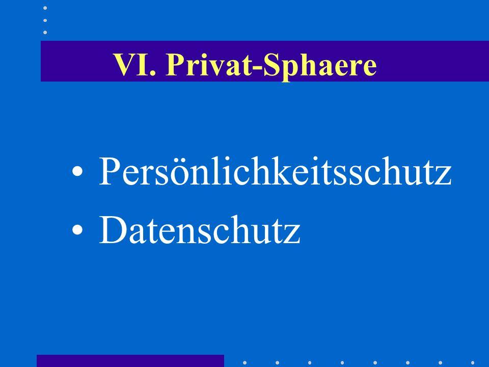 VI. Privat-Sphaere Persönlichkeitsschutz Datenschutz