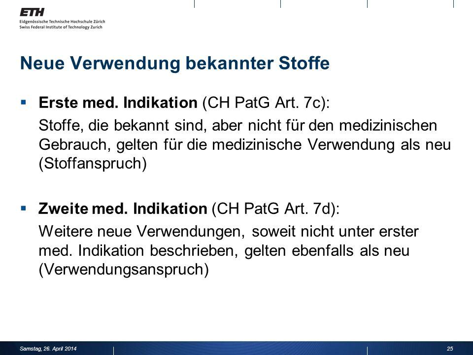 Neue Verwendung bekannter Stoffe Erste med.Indikation (CH PatG Art.