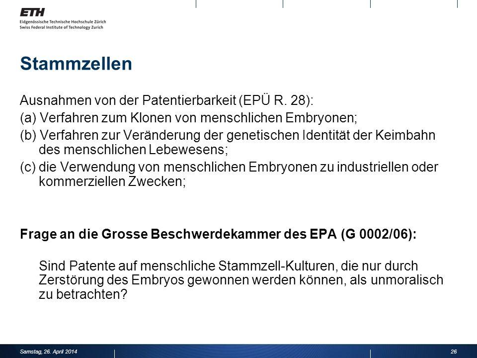 Stammzellen Ausnahmen von der Patentierbarkeit (EPÜ R.