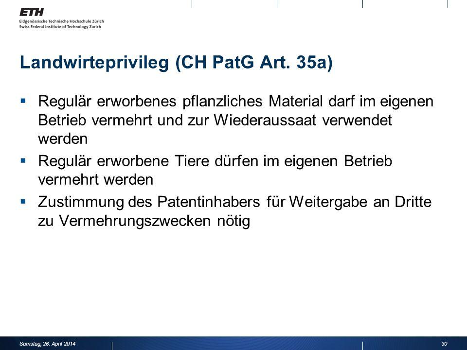 Landwirteprivileg (CH PatG Art.
