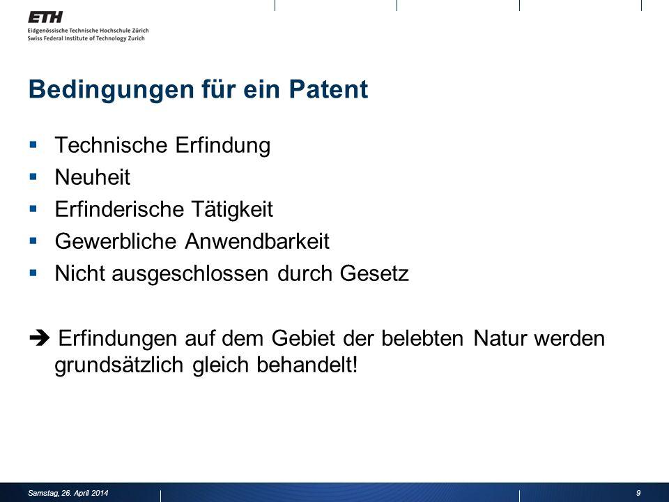 Bedingungen für ein Patent Technische Erfindung Neuheit Erfinderische Tätigkeit Gewerbliche Anwendbarkeit Nicht ausgeschlossen durch Gesetz Erfindungen auf dem Gebiet der belebten Natur werden grundsätzlich gleich behandelt.