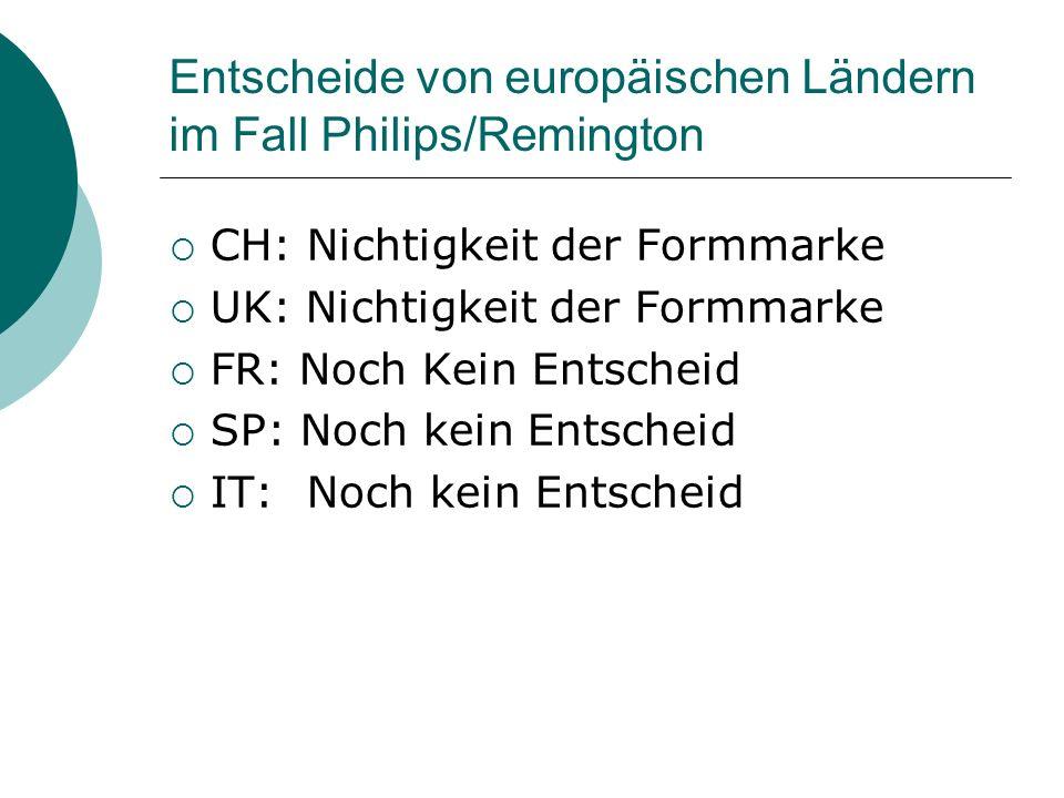 Entscheide von europäischen Ländern im Fall Philips/Remington CH: Nichtigkeit der Formmarke UK: Nichtigkeit der Formmarke FR: Noch Kein Entscheid SP: