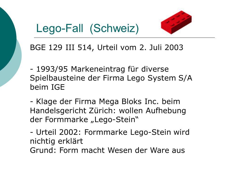 Lego-Fall 2003 Eidgenössische Berufung: BGer muss Schutzausschlussgründe überprüfen Ergebnis: Lego-Form macht nicht Wesen der Ware aus (gegeneinander fixierbar) Lego-Form nicht technisch notwendig (zur Erziehlung der Klemmwirkung andere technische Ausgestaltungen möglich) -> Rückweisung an die Voristanz: Prüfung auf Verkehrsdurchsetzung notwendig
