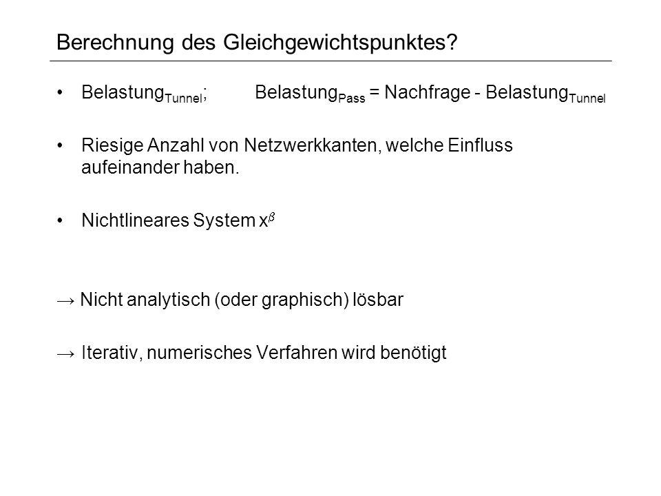 Berechnung des Gleichgewichtspunktes? Belastung Tunnel ;Belastung Pass = Nachfrage - Belastung Tunnel Riesige Anzahl von Netzwerkkanten, welche Einflu
