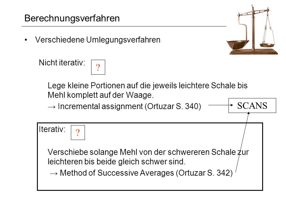 Berechnungsverfahren Verschiedene Umlegungsverfahren Nicht iterativ: Lege kleine Portionen auf die jeweils leichtere Schale bis Mehl komplett auf der Waage.