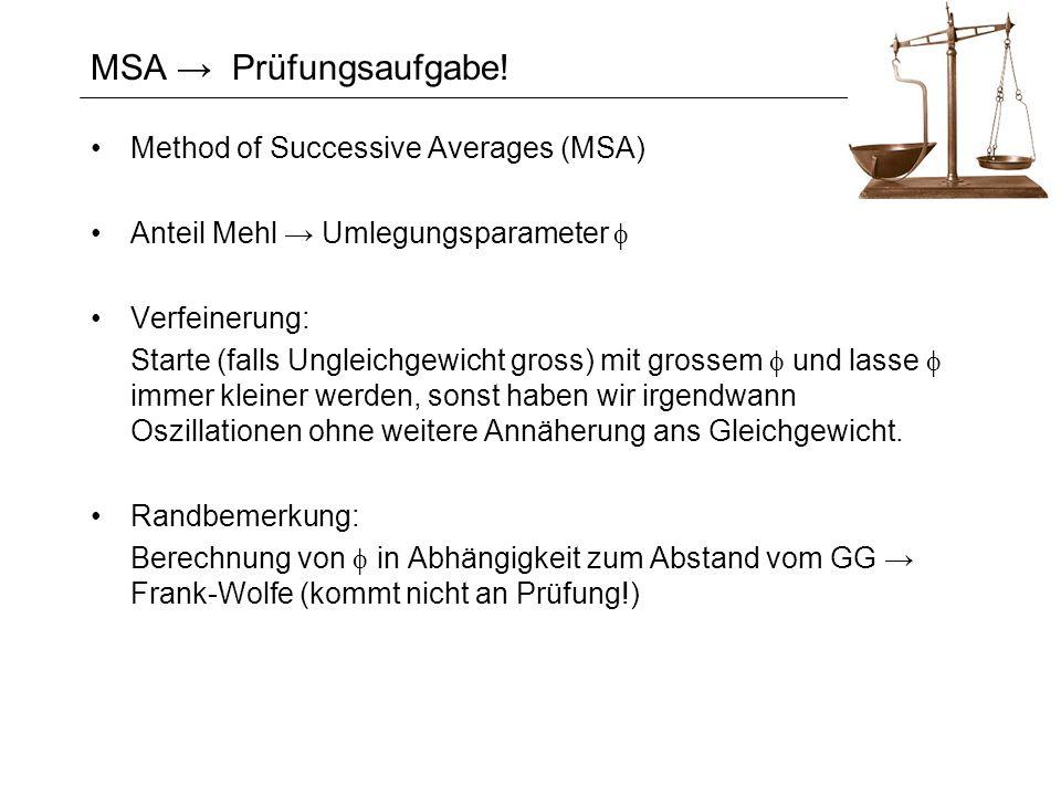 MSA Prüfungsaufgabe! Method of Successive Averages (MSA) Anteil Mehl Umlegungsparameter Verfeinerung: Starte (falls Ungleichgewicht gross) mit grossem