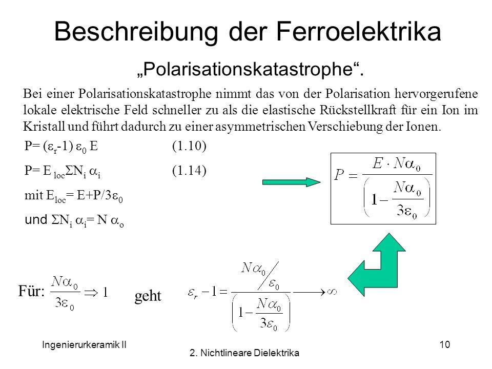 Ingenierurkeramik II 2. Nichtlineare Dielektrika 10 Beschreibung der Ferroelektrika Polarisationskatastrophe. Bei einer Polarisationskatastrophe nimmt
