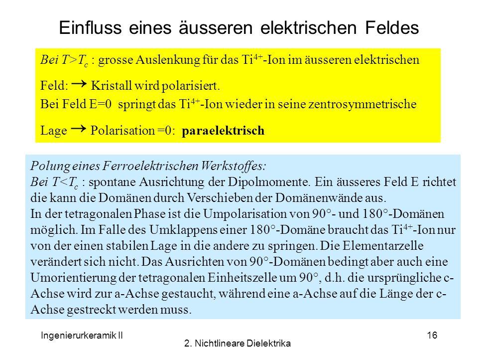 Ingenierurkeramik II 2. Nichtlineare Dielektrika 16 Einfluss eines äusseren elektrischen Feldes Bei T>T c : grosse Auslenkung für das Ti 4+ -Ion im äu