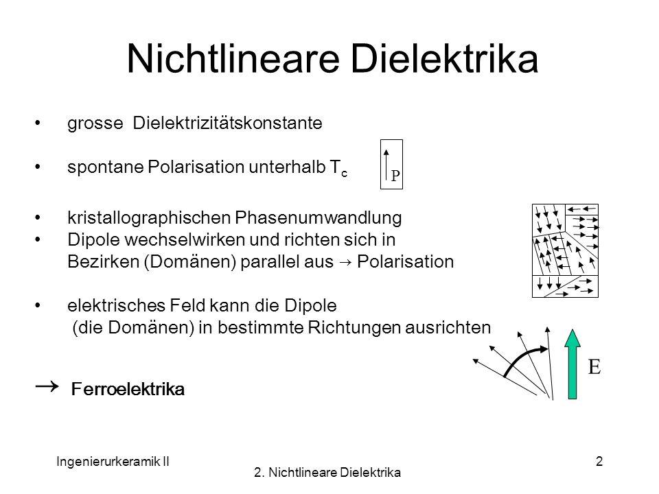Ingenierurkeramik II 2. Nichtlineare Dielektrika 2 Nichtlineare Dielektrika grosse Dielektrizitätskonstante spontane Polarisation unterhalb T c krista