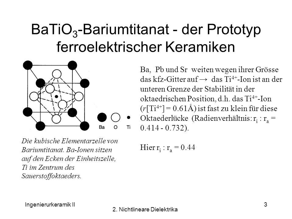 Ingenierurkeramik II 2. Nichtlineare Dielektrika 3 BaTiO 3 -Bariumtitanat - der Prototyp ferroelektrischer Keramiken Die kubische Elementarzelle von B