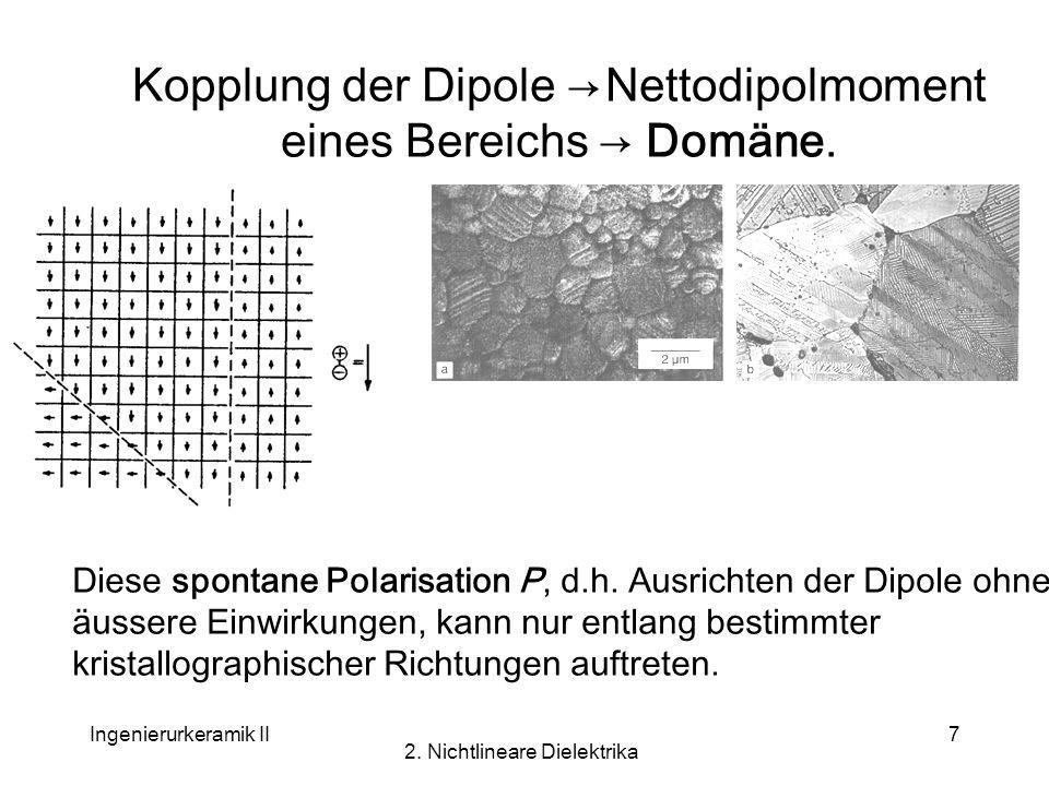 Ingenierurkeramik II 2. Nichtlineare Dielektrika 7 Kopplung der Dipole Nettodipolmoment eines Bereichs Domäne. Diese spontane Polarisation P, d.h. Aus