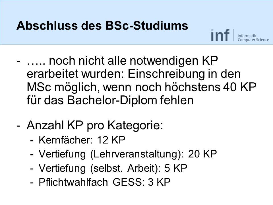 Abschluss des BSc-Studiums -…..