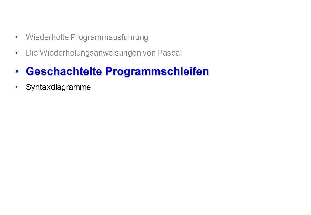 Wiederholte Programmausführung Die Wiederholungsanweisungen von Pascal Geschachtelte ProgrammschleifenGeschachtelte Programmschleifen Syntaxdiagramme
