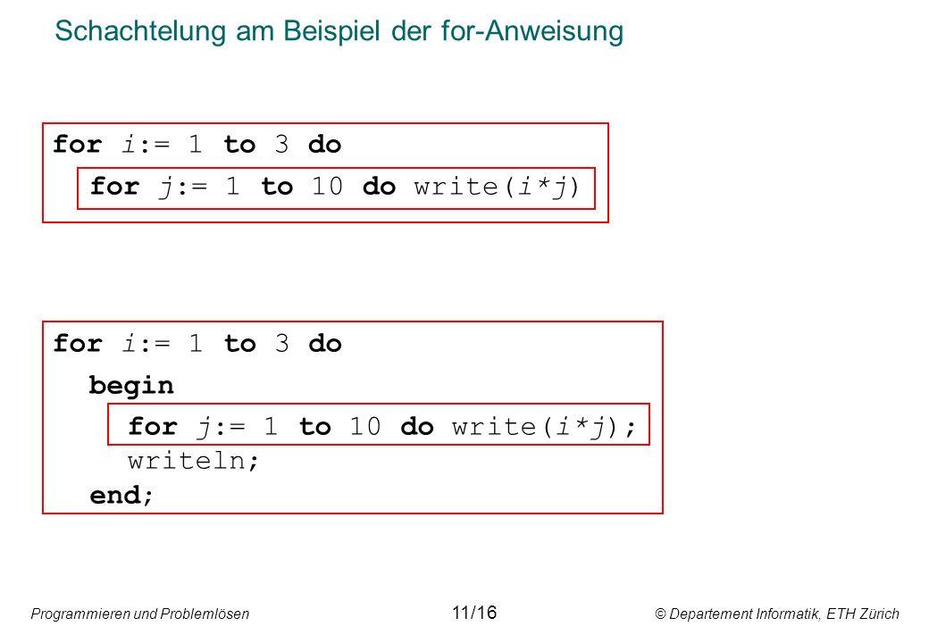 Programmieren und Problemlösen © Departement Informatik, ETH Zürich Schachtelung am Beispiel der for-Anweisung for i:= 1 to 3 do for j:= 1 to 10 do write(i*j) 11/16 for i:= 1 to 3 do begin for j:= 1 to 10 do write(i*j); writeln; end;