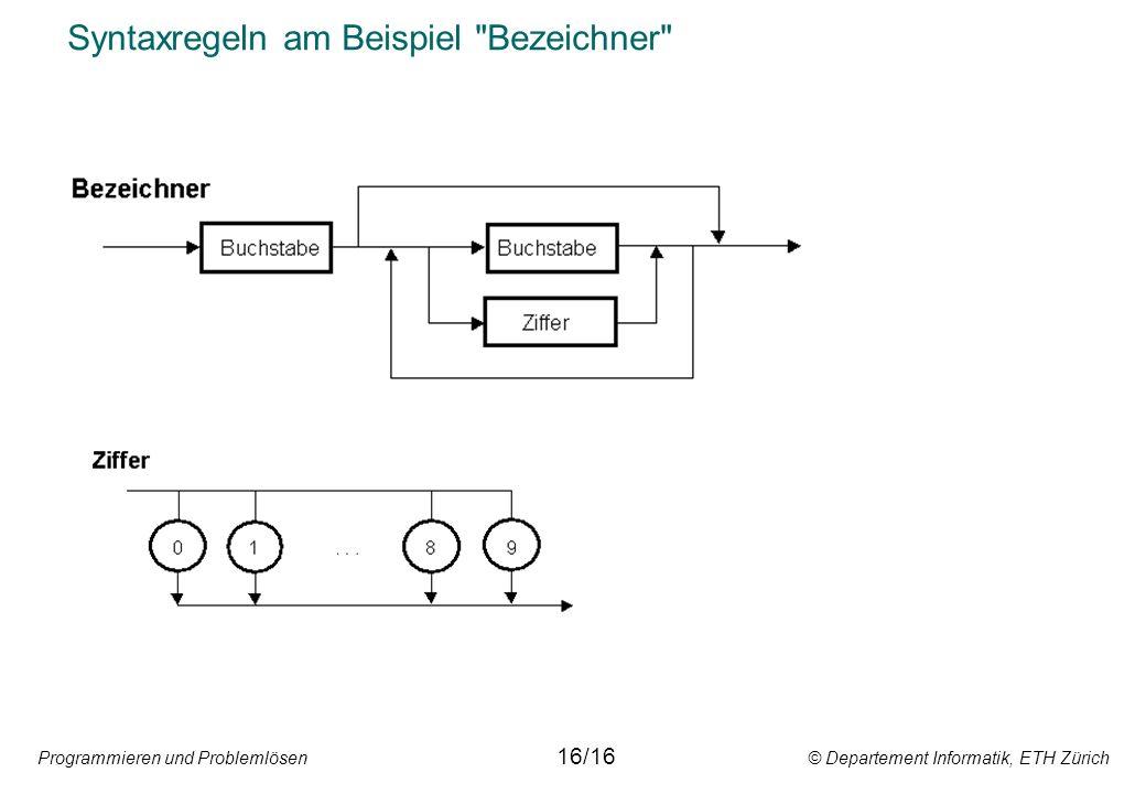 Programmieren und Problemlösen © Departement Informatik, ETH Zürich Syntaxregeln am Beispiel Bezeichner 16/16