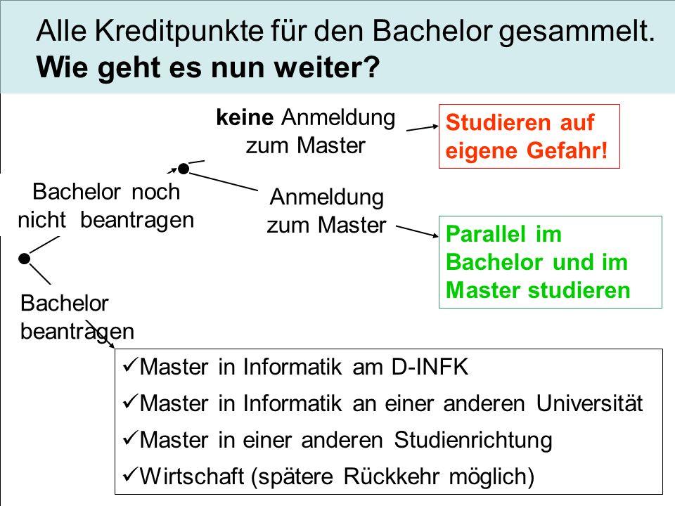Bachelor noch nicht beantragen Bachelor beantragen keine Anmeldung zum Master Studieren auf eigene Gefahr! Master in Informatik am D-INFK Master in In