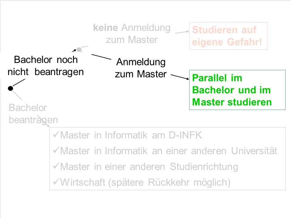 Bachelor beantragen keine Anmeldung zum Master Studieren auf eigene Gefahr! Master in Informatik am D-INFK Master in Informatik an einer anderen Unive