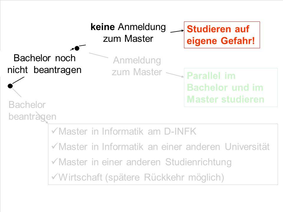 Bachelor beantragen Master in Informatik am D-INFK Master in Informatik an einer anderen Universität Master in einer anderen Studienrichtung Wirtschaf