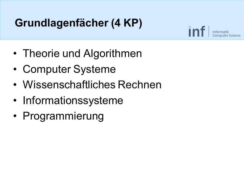 Grundlagenfächer (4 KP) Theorie und Algorithmen Computer Systeme Wissenschaftliches Rechnen Informationssysteme Programmierung