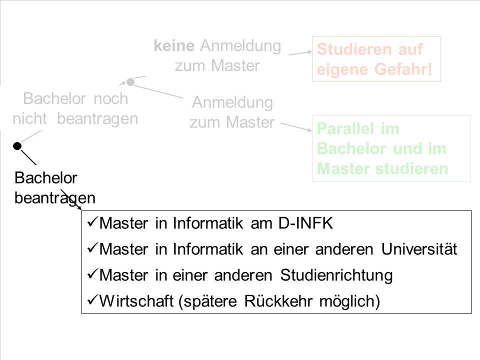 Bachelor noch nicht beantragen keine Anmeldung zum Master Studieren auf eigene Gefahr! Parallel im Bachelor und im Master studieren Anmeldung zum Mast