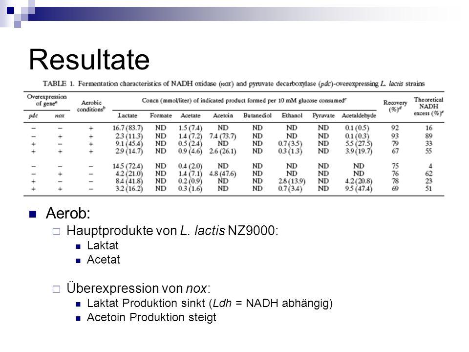 Resultate Aerob: Hauptprodukte von L.