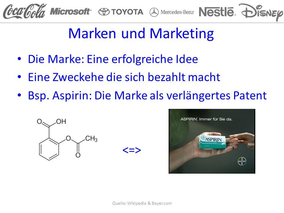 Marken und Marketing Die Marke: Eine erfolgreiche Idee Eine Zweckehe die sich bezahlt macht Bsp.