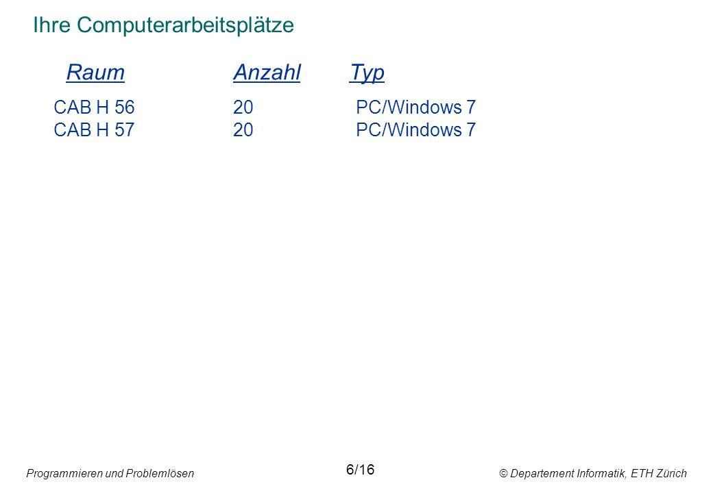 Programmieren und Problemlösen © Departement Informatik, ETH Zürich Zuweisungsanweisung y := (x - 32) * 5 / 9; Arithmetischer Ausdruck 14/16 Variablenbezeichner Zuweisungssymbol Ein arithmetischer Ausdruck erzeugt einen einzigen Wert.