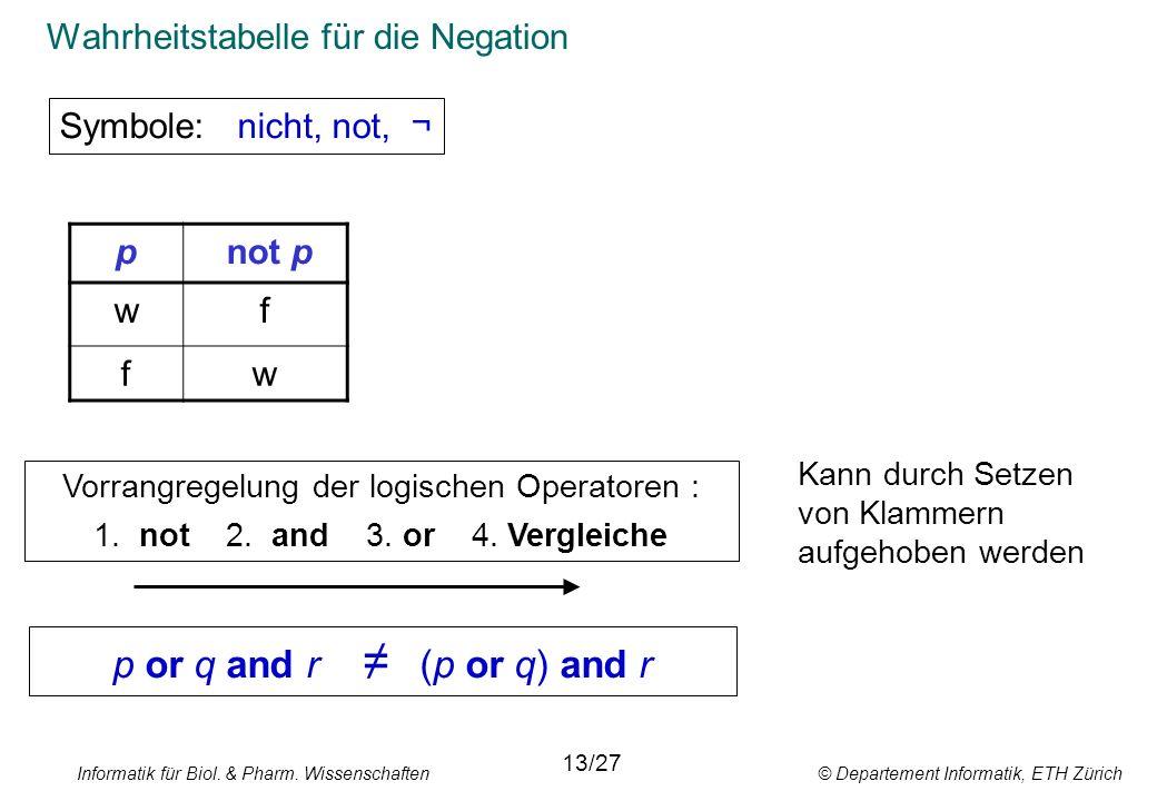 Informatik für Biol. & Pharm. Wissenschaften © Departement Informatik, ETH Zürich Wahrheitstabelle für die Negation Symbole: nicht, not, ¬ 13/27 Vorra