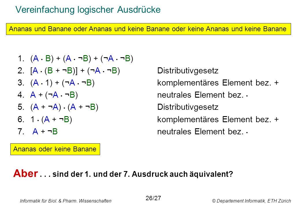 Informatik für Biol. & Pharm. Wissenschaften © Departement Informatik, ETH Zürich Vereinfachung logischer Ausdrücke 1.(A B) + (A ¬B) + (¬A ¬B) 2.[A (B