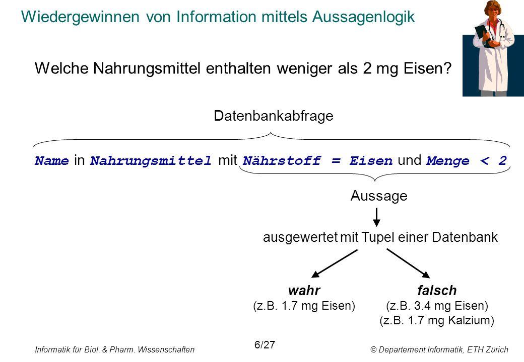 Informatik für Biol. & Pharm. Wissenschaften © Departement Informatik, ETH Zürich Wiedergewinnen von Information mittels Aussagenlogik Welche Nahrungs