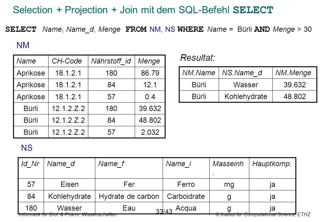 Informatik für Biol. & Pharm. Wissenschaften © Institut für Computational Science, ETHZ Selection + Projection + Join mit dem SQL-Befehl SELECT NameCH
