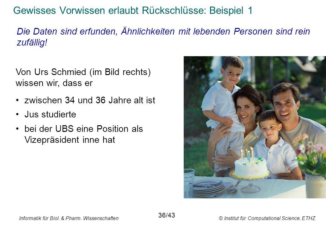 Informatik für Biol. & Pharm. Wissenschaften © Institut für Computational Science, ETHZ Von Urs Schmied (im Bild rechts) wissen wir, dass er 36/43 Gew