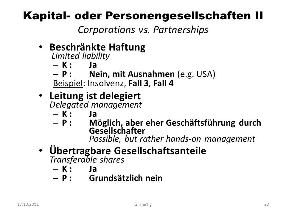 Kapital- oder Personengesellschaften II Corporations vs.